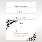 Bridal accessories in white card stock, printed in black fonts, vintage themed border