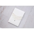 Silver/Gray Jeweled White Lasercut Pocket - Wedding invitation - 26