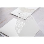Silver/Gray Jeweled White Lasercut Pocket - Wedding invitation - 27