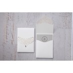 Pearlised inner card in light grey colour, enclosed in a white pocket with lasercut flap with shiny gem