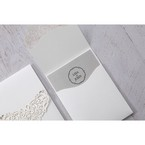 Lightly textured classic white pocket invite with silver insert card, printed in black ink letters
