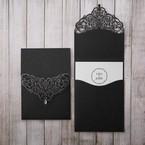 White Jeweled Romance Black Lasercut Pocket - Wedding invitation - 14