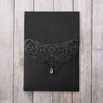 White Jeweled Romance Black Lasercut Pocket - Wedding invitation - 70