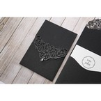 White Jeweled Romance Black Lasercut Pocket - Wedding invitation - 71
