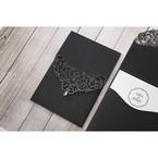 White Jeweled Romance Black Lasercut Pocket - Wedding invitation - 71