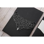 White Jeweled Romance Black Lasercut Pocket - Wedding invitation - 72
