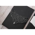 White Jeweled Romance Black Lasercut Pocket - Wedding invitation - 72