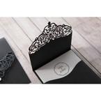 White Jeweled Romance Black Lasercut Pocket - Wedding invitation - 73