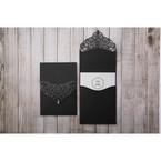 White Jeweled Romance Black Lasercut Pocket - Wedding invitation - 74