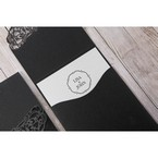 White Jeweled Romance Black Lasercut Pocket - Wedding invitation - 75