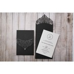 White Jeweled Romance Black Lasercut Pocket - Wedding invitation - 76