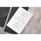 White Jeweled Romance Black Lasercut Pocket - Wedding invitation - 77