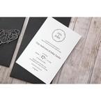 White Jeweled Romance Black Lasercut Pocket - Wedding invitation - 77