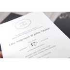 White Jeweled Romance Black Lasercut Pocket - Wedding invitation - 78