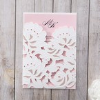 Pink Floral Laser Cut with Embossing - Wedding invitation - 28