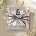 Silver/Gray Elagant Laser Cut Wrap - Wedding invitation - 31