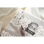 Silver/Gray Elagant Laser Cut Wrap - Wedding invitation - 32