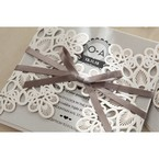 Silver/Gray Elagant Laser Cut Wrap - Wedding invitation - 33