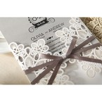 Silver/Gray Elagant Laser Cut Wrap - Wedding invitation - 34