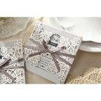 Silver/Gray Elagant Laser Cut Wrap - Wedding invitation - 36