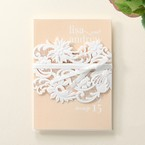 Beige White Laser Cut Wrap with Ribbon - Engagement Invitations - 85