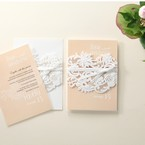 Beige White Laser Cut Wrap with Ribbon - Engagement Invitations - 86