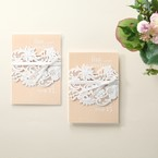 Beige White Laser Cut Wrap with Ribbon - Engagement Invitations - 88