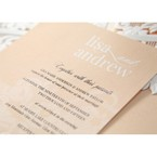 Beige White Laser Cut Wrap with Ribbon - Engagement Invitations - 89