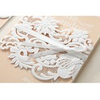 Beige White Laser Cut Wrap with Ribbon - Engagement Invitations - 90