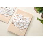 Beige White Laser Cut Wrap with Ribbon - Engagement Invitations - 91