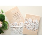 Beige White Laser Cut Wrap with Ribbon - Engagement Invitations - 92