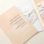 Beige White Laser Cut Wrap with Ribbon - Engagement Invitations - 93