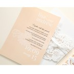Beige White Laser Cut Wrap with Ribbon - Engagement Invitations - 94