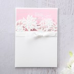 Pink Laser Cut Floral Half Pocket  - Wedding invitation - 44