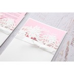 Pink Laser Cut Floral Half Pocket  - Wedding invitation - 39