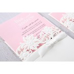 Pink Laser Cut Floral Half Pocket  - Wedding invitation - 42