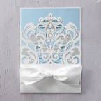 Blue Classy Laser Cut with White Bow - Wedding invitation - 46