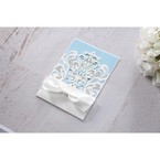 Blue Classy Laser Cut with White Bow - Wedding invitation - 54