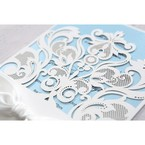 Blue Classy Laser Cut with White Bow - Wedding invitation - 55