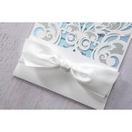 Blue Classy Laser Cut with White Bow - Wedding invitation - 57