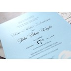 Blue Classy Laser Cut with White Bow - Wedding invitation - 61