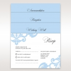 Accessory cards printed on a white card with light blue regal theme silhouette design digitally printed in black calligraphic lettering