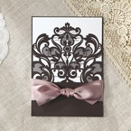 White Elegant Laser Cut Half Pocket with a Bow - Wedding invitation - 54