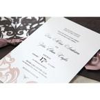 White Elegant Laser Cut Half Pocket with a Bow - Wedding invitation - 32