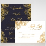 Matte navy blue card with golden vintage themed border design and writing