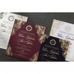 Gold foiled matte cards along with a pearlised white card adorned with vintage themed golden borders