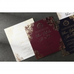 Classic white and matte marsala inner card with foiled letters and borders in shimmering gold
