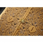 Golden wild lotus flower seal, customisable golden initials on an intricate laser cut sleeve