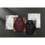 Digitally printed border on a pearlised card along with three hot foil stamped inner cards in white, marsala and navy blue