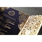 Shimmering golden hot foil stamped, matte, navy blue inner card